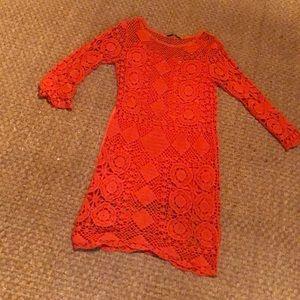 Orange Trina Turk crochet dress